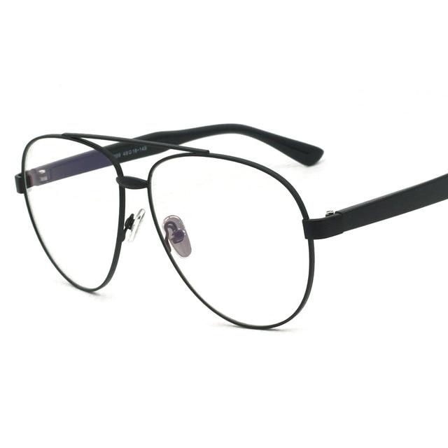 f345dda421 Cubojue Oversized Woman s Glasses Men Aviation Pilot Vintage Eyeglasses  Frame Wide Face Prescription Glasses Optical Myopia