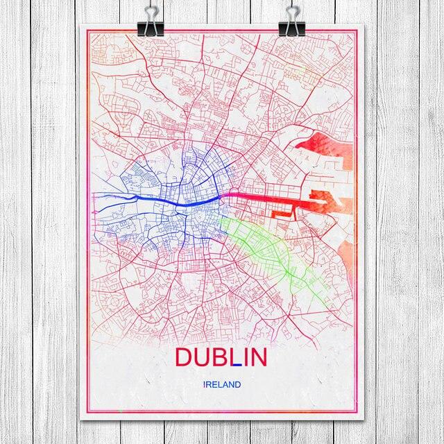 DUBLIN Irland Bunte World City Karte Drucken Poster Abstrakt Beschichtetes  Papier Bar Pub Wohnzimmer Dekoration Wandaufkleber