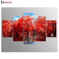 Diamond Embroidery Landscape 5D Diy 5PCS Diamond Painting Cross Stitch Kits Tree Diamond Mosaic Pattern Home