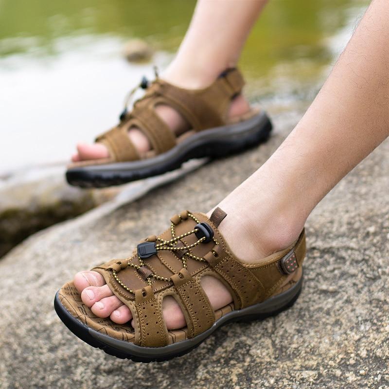 Kulit Asli Pria Sandal Musim Panas Pantai Sepatu Fashion Baru - Sepatu Pria - Foto 4