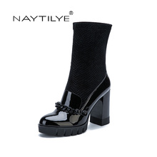 NAYTILYE New 2017 Pu patent Eco leather shoes woman boots high heels Slip-on with chain spring autumn black blue 35-40 size