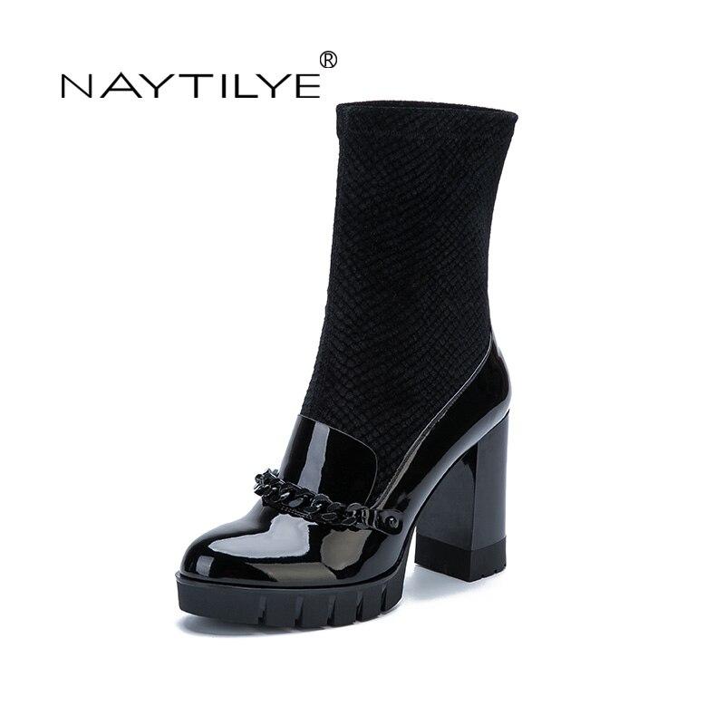 NAYTILYE Новый 2017 искусственная лакированная Эко-кожа обувь женщина сапоги высокие каблуки Slip-на с цепью весна осень черный синий Размер 35-40
