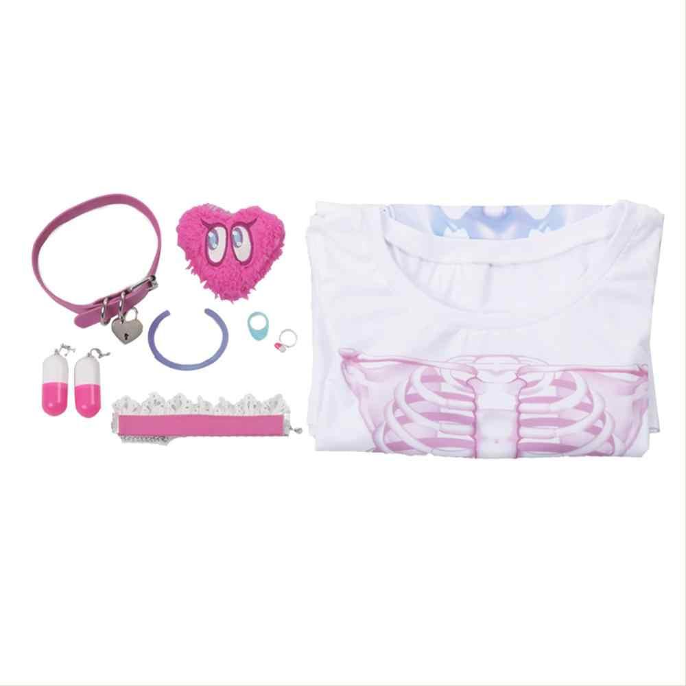 Meninas yumemi riamu cosplay traje t camisa acessórios peruca cabelo rosa adulto carnaval fantasia vestido feminino