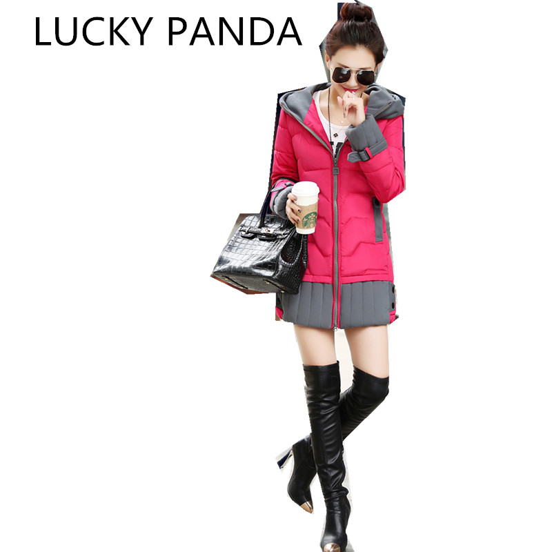 LUCKY PANDA  2016 WOMAN new personality in the long down Cotton Hooded zipper stitching female cotton padded jacket LKB175 the woman in the photo