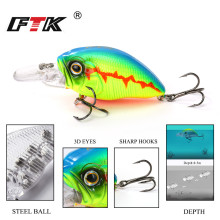 Купить с кэшбэком FTK Colorful Swim Fish  Fishing Lure 1pcs 47mm 10g Floating Hard Crankbait Fishing Depth 0.05m Topwater Wobbler Tackle