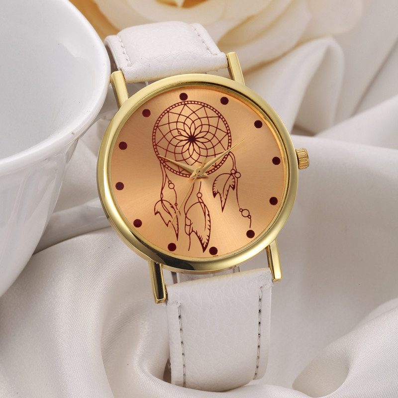 Drop Shipping Women Leather Band Watches Stainless Steel Gold Dial Quartz Wrist Watch Girl Ladies Dress Watch Wristwatches Clock splendid shelon wristwatches quartz watches rhinestone women s watches genuine leather upscale large dial free shipping
