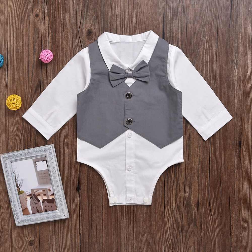 Puseky джентльменский боди для ребенка мальчика с длинными рукавами, Детский комбинезон для мальчиков, весенний Детский костюм на день рождения, боди для младенцев, для детей от 0 до 24 месяцев, высокое качество