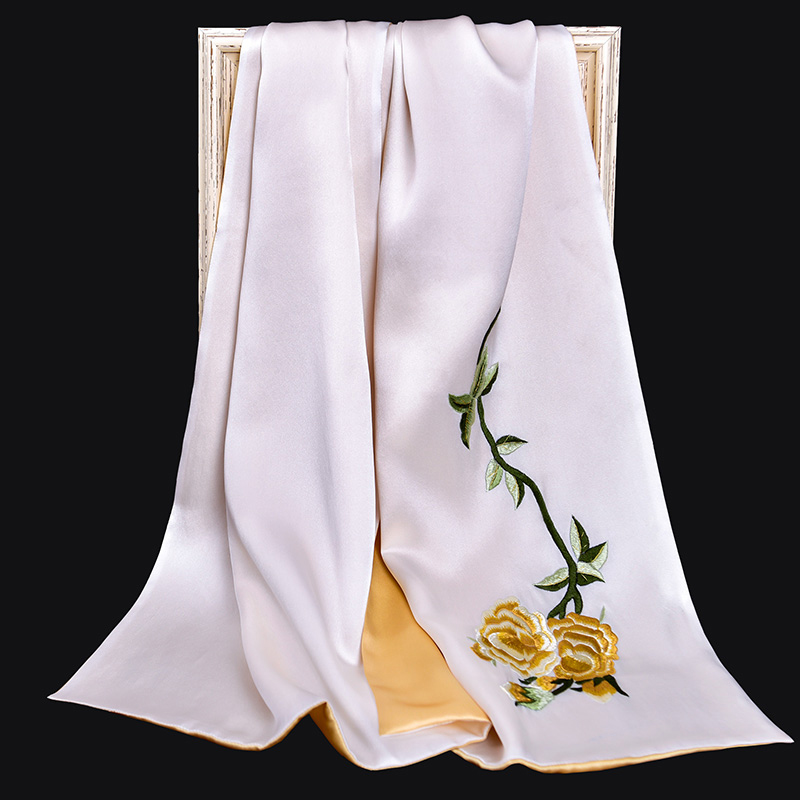100% Pure Silk Scarf Luxury 2019 Hangzhou Silk Shawls and Wraps for Women Handmade Embroidery Natural 16 m/m Real Silk Scarves - 3