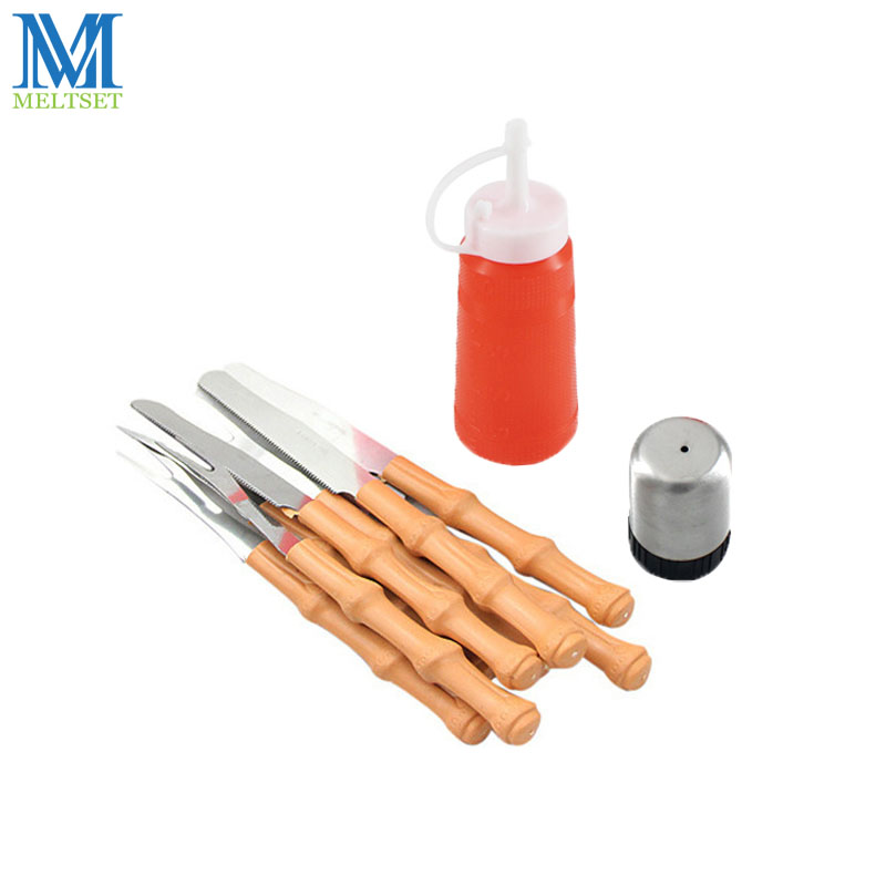 10pcs/set BBQ Tool Set Stainless Steel Barbecue Fork Knife Heat Resistant Plastic Spice Oil Bottle Barbecue Grill Accessories
