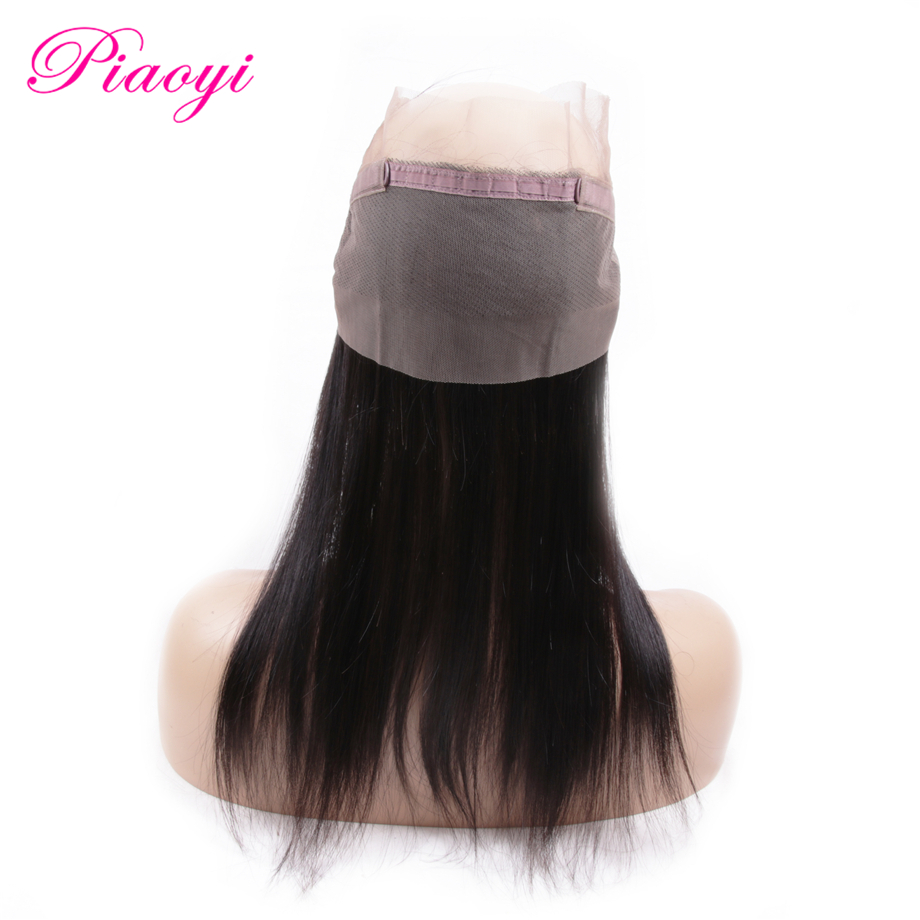 Human Hair Weaves Piaoyi Peruvian Straight Hair Pre Plucked 360 Lace Frontal Closure With Baby Hair 8-22 Inch 100% Remy Human Hair Free Shipping