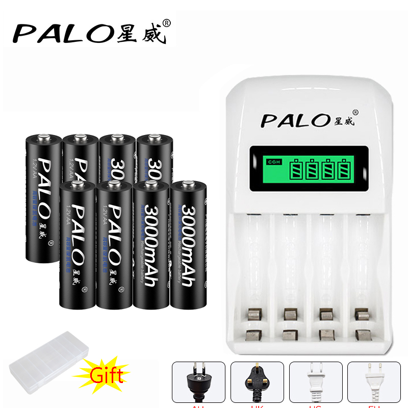 PALO LCD Battery Charger For NI-MH NI-CD 1.2V AA AAA Rechargeable battery with 8pcs AA 3000mAh battery batteria for toy car ewellsold 2pcs lot 4 8v 700mah ni cd aa battery for rc car