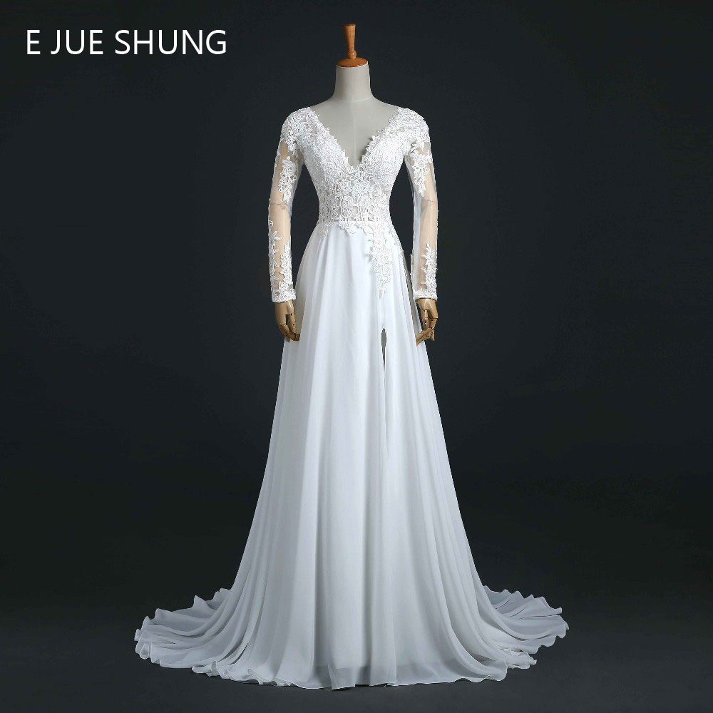 Backless Wedding Gowns For Sale: E JUE SHUNG White Lace Appliques Cheap Beach Wedding