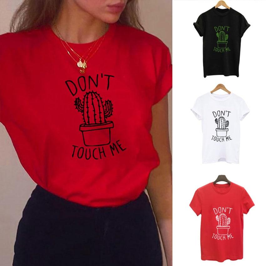 S-XXL לא קשה לי קקטוס T חולצת נשים מקרית קיץ Tshirts כותנה Femme חולצות & tees בציר שחור לבן אדום חולצה נשים
