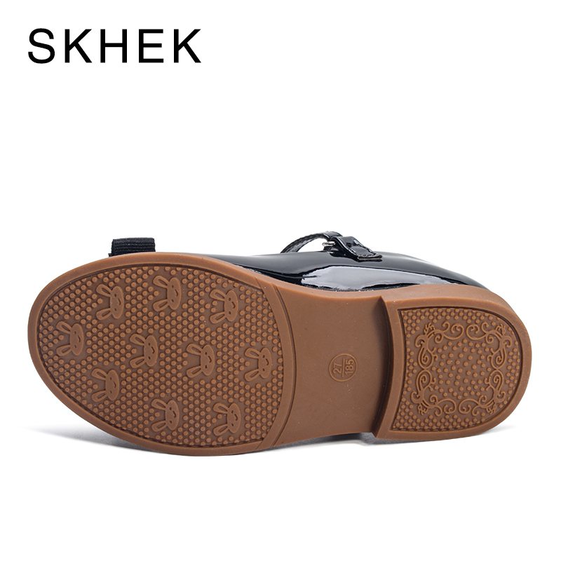 SKHEK Girls Leather Shoes 2019 Spring Autumn Children Sneakers Cartoon Bow Kids baby Leisure Single Shoes For Female Kid Sandals in Leather Shoes from Mother Kids