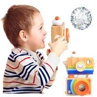 Houten Camera Speelgoed Veilig Natuurlijke voor Baby Speelgoed Caleidoscoop Creatieve Hals Camera voor Kinderen Verjaardag Kerstcadeaus 2 Kleuren