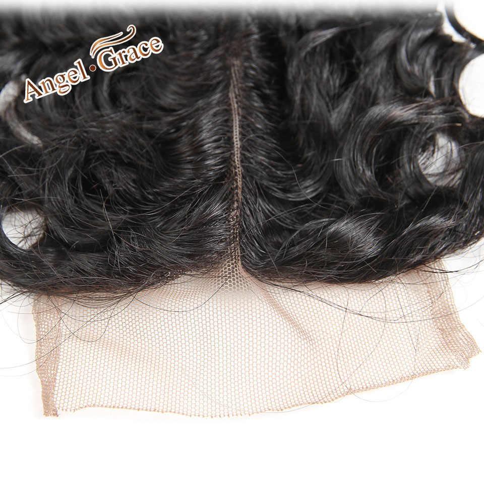 Angel Grace волосы бразильские глубокая волна Кружева Закрытие свободная средняя часть Средний коричневый/прозрачный кружева CloRemy человеческие волосы 10-20 дюймов