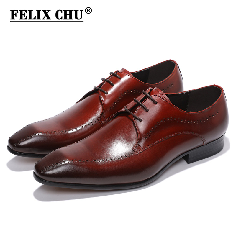 FELIX CHU Elegant Genuine Cow Leather Mens Formal Derby Shoes Lace Up Burgundy Man Wedding Party Office Dress Shoes #2013-305