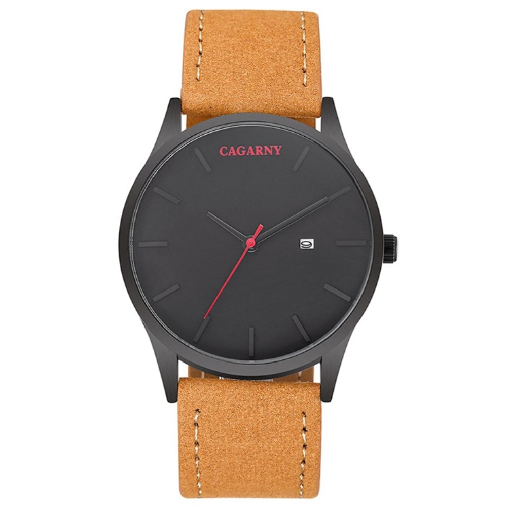 CAGARNY Luxury Brand Quartz Watch Men Military Leather Strap Watchband Waterproof Watches Casual Male Gifts Sport Watches Clock