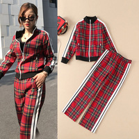 Fall and Winter 2019 New Women's Wear Long sleeved Red Checker Baseball Coat + Straight Trousers Casual Suit Pants Set Women