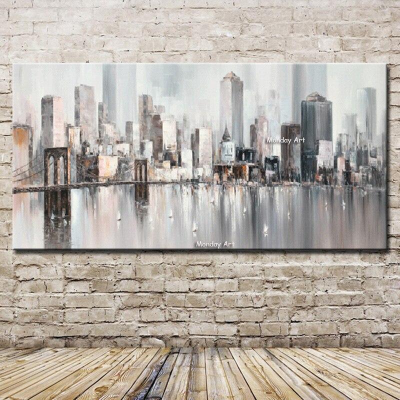 Peint à la main Nouvelle York Skyline Ville Architecture Abstraite Mur Art Peint À La Main Peinture À L'huile sur Toile Mur Pictures Home Decor