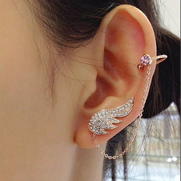 Aliexpress 2017 New Style Fashion Ear Cuff Jewelry Inlay Clear Zircon Crystals Angel Wings With Chain Stud Earring For Women E873833 From
