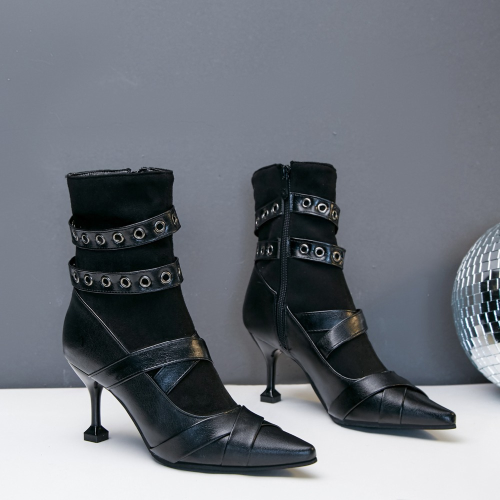 Hauts 34 Taille Bande Étroite Arrivée Zip Pointu Nouvelle Femme Bottes 43 Bout Sb238 Cheville Femmes Qualité Rivets Haute 2018 Noir Chaussures Talons oWQxCBrdeE