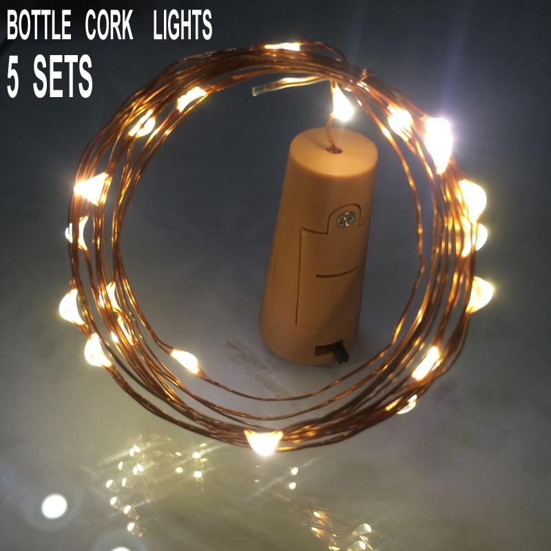 DC 5 В 20 LED Пробка для Бутылок Лампа Медная Проволока Строка Огни Гирлянда Полоса Главная Партия Украшения Настольные Лампы Свет и Освещение