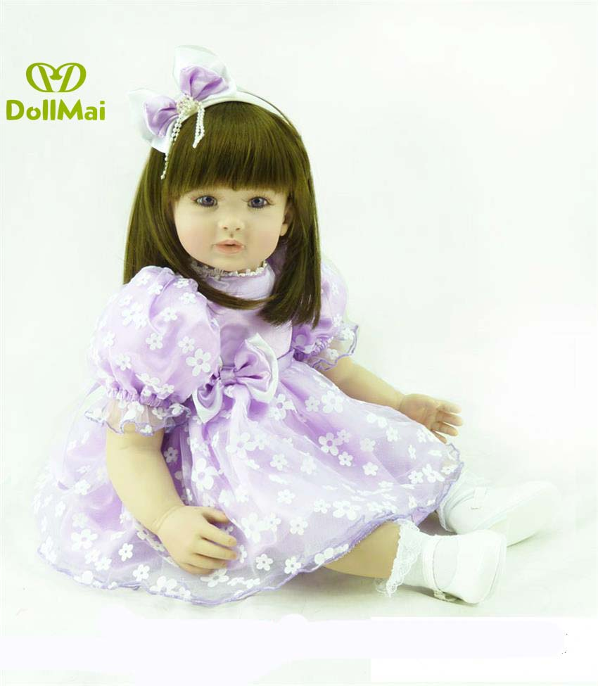 60cm Silicone Reborn Baby Doll Toy 24inch vinyl Princess girl realistic Toddler time baby Doll reborn for children gift60cm Silicone Reborn Baby Doll Toy 24inch vinyl Princess girl realistic Toddler time baby Doll reborn for children gift