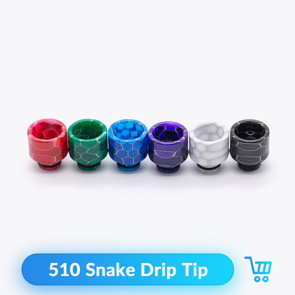 Quartz Banger 510 Snake Drip Tip Epoxy Resin Wide Bore For Ijust S RTA RDA Tank E Cig Vaporizor Vape Accessories Mouthpiece