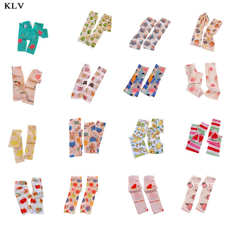 Korean Sweet Women Girls Summer Arm Sleeves Cover Harajuku Protector Candy Colored Fruits UV Protection Driving Sunscreen Gloves