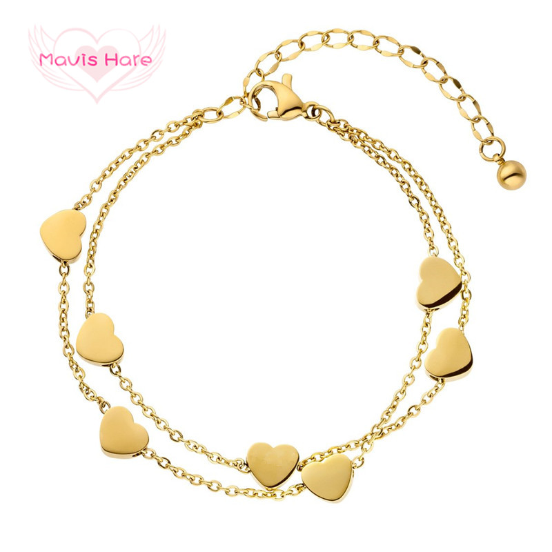 Mavis Hare Stainless Steel Love Chain silver/gold/rose gold double layer Bracelet with Heart Charms and 5cm extension chain