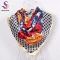 [BYSIFA] A Cuadros de color beige Rosas Cabeza Accesorios Cuadrado Grande Bufanda De Seda Bufandas Para Las Mujeres Ropa de Invierno Primavera Otoño de La Bufanda de Cuello