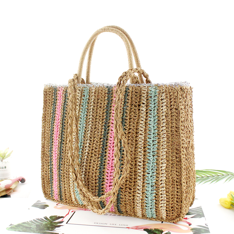 Colorful Paper Rope Straw Bag Shoulder Portable Woven Bag Casual Beach Fashion Handbag