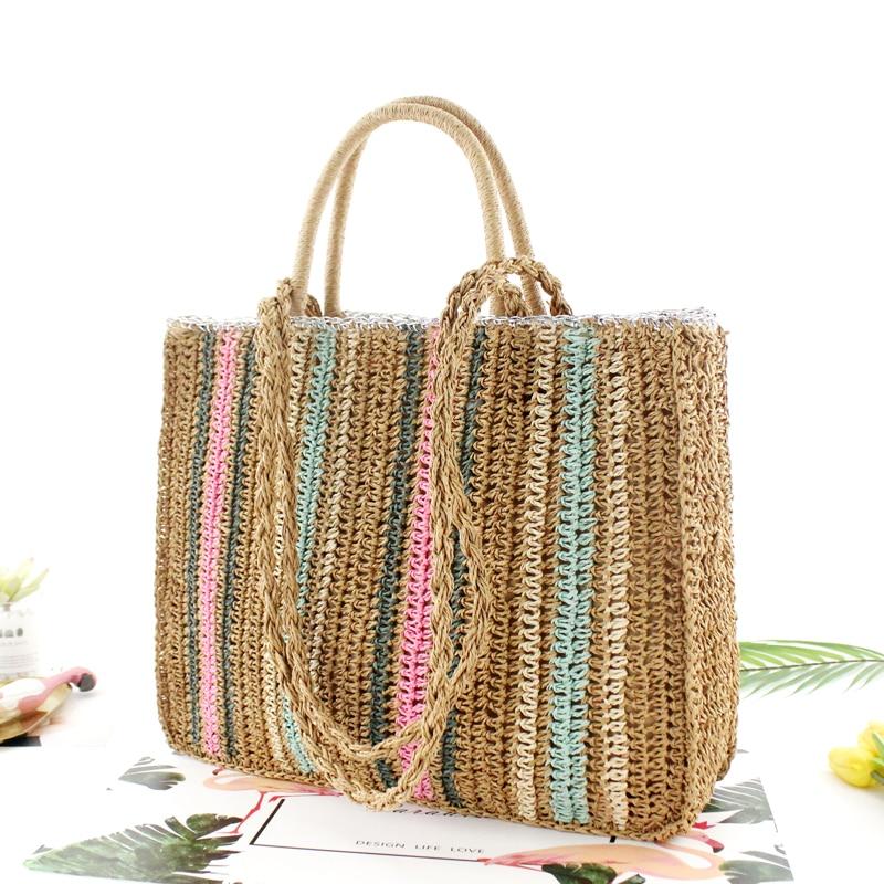 Colorful Paper Rope Straw Bag Shoulder Portable Woven Bag Casual Beach Fashion Handbag