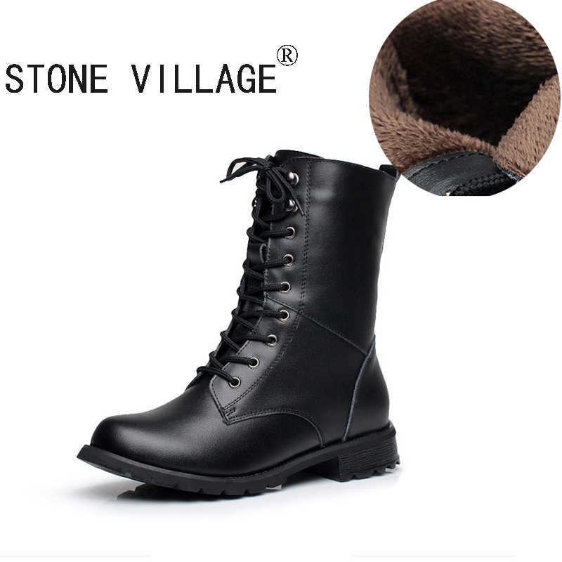ФОТО STONE VILLAGE New Autumn Winter Leather Boots Shoes  Female Genuine Leather Boots Handmade Vintage Literary Style Ankle Lace-Up