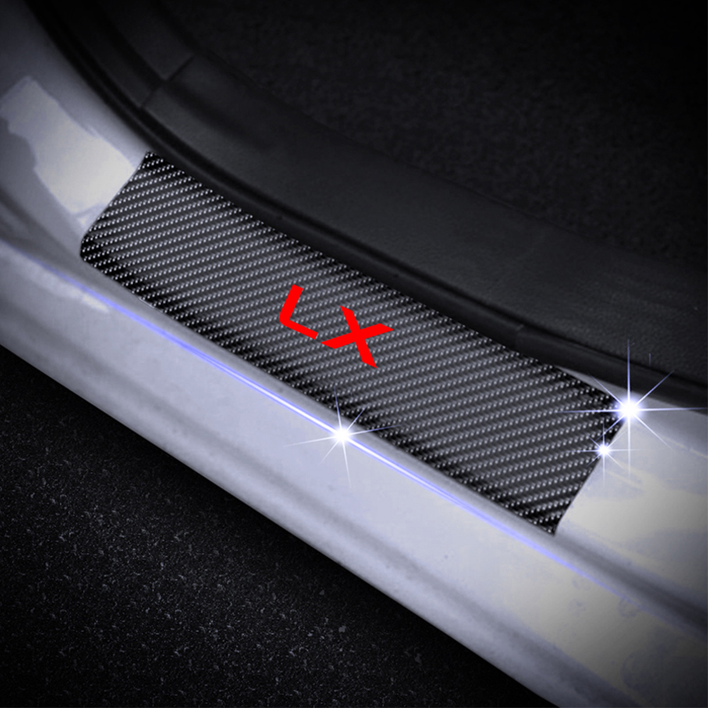 Car Door Plate Scuff Protection For Lexus LX Series Car Door Sill Protector Decoration Stickers 4D Carbon Fiber Car Accessories in Interior Mouldings from Automobiles Motorcycles