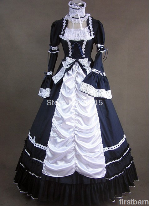 Cheap Black and White Long Sleeves Cotton Gothic Victorian Ball Gown Lolita Dresses free shipping