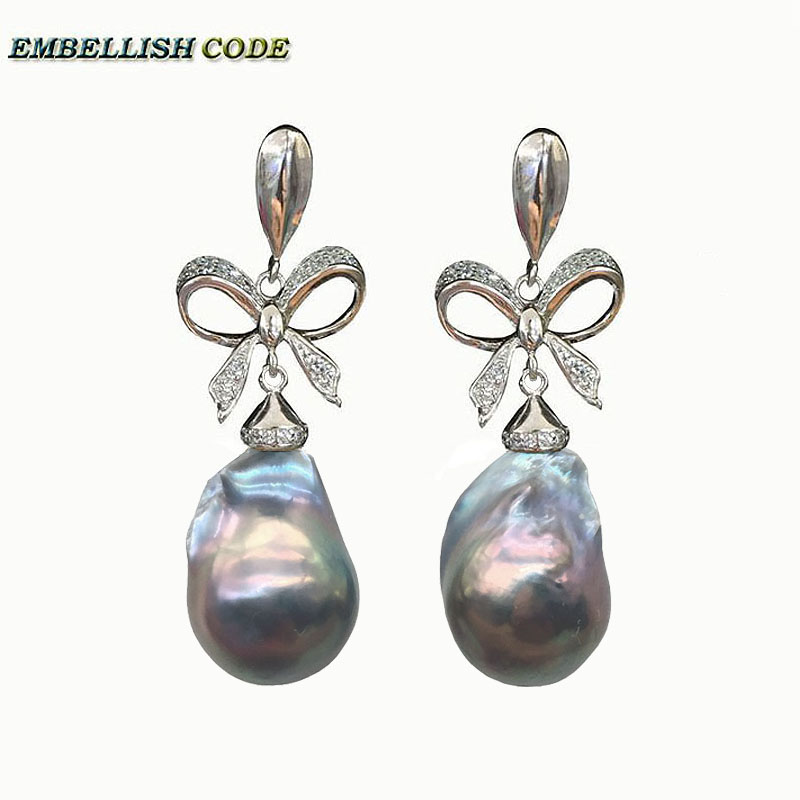 baroque pearls Bowknot style noble dangle earrings grey color flame ball tissue nucleated freshwater pearl 925 silver for women in Drop Earrings from Jewelry Accessories
