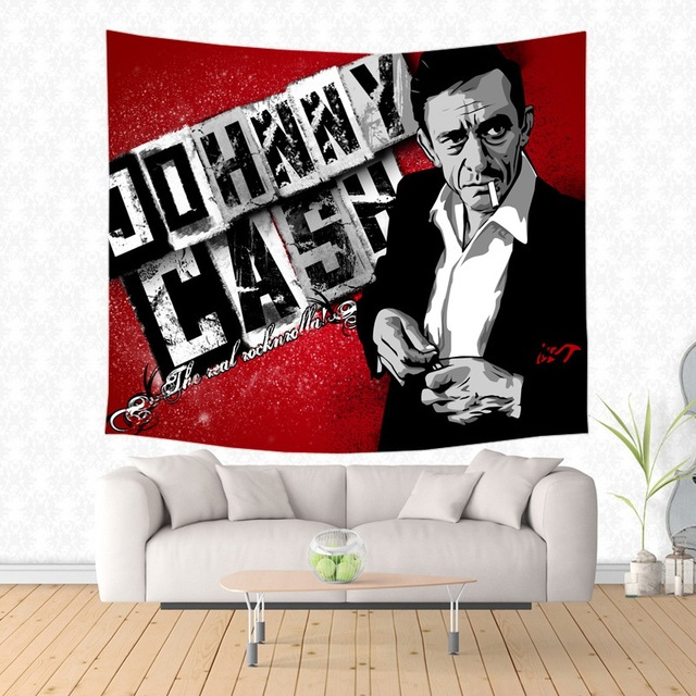 Johnny Cash Pattern Tapestry Decorative Wall Hanging Carpet Bedding Outlet Door Curtain Textiles