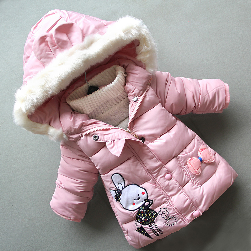 BibiCola 2018 New Arrival Girls Jacket Cute Rabbit Warm Thickening Coat Hooded with Fur Bow Pocket Kids Jacket Girls Winter Coat