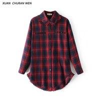 XUANCHURANWEN Women Autumn Cotton Long Blouse Casual Slim Long Sleeve Plaid Rivet Shirt Ladies Slim Turn