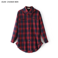 XUANCHURANWEN Women Autumn Cotton Long Blouse Casual Slim Long Sleeve Plaid Rivet Shirt Ladies Slim Turn