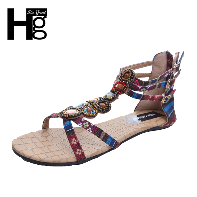 ded1da4d5a9386 HEE GRAND Summer Style Ethnic Women Sandals 2017 Bohemian Fashion Beading  Pu Printed Casual Flat with