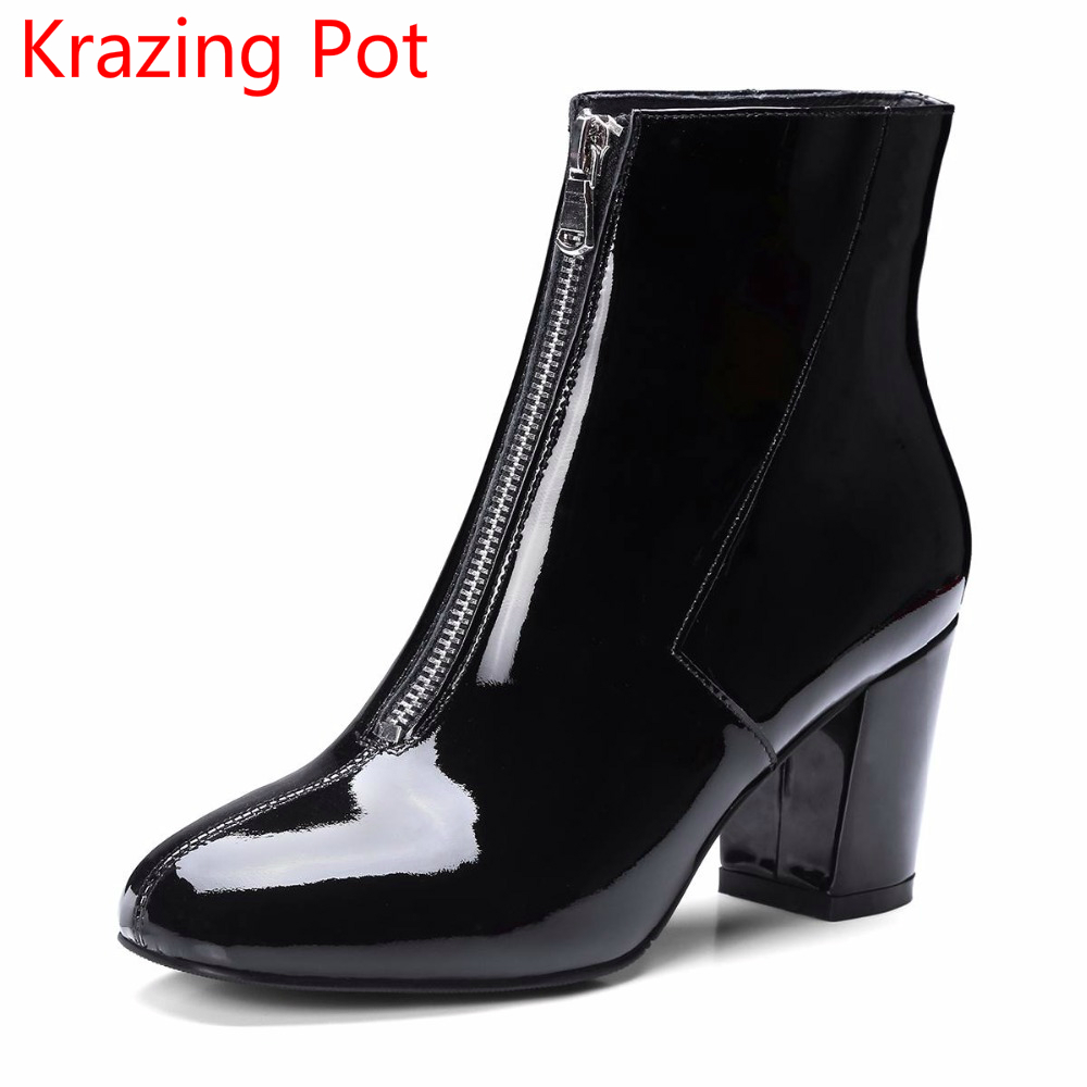 2018 cow leather keep warm square toe zipper high heels European designer handmade winter boots black ankle boots for women L75 2018 superstar cow suede streetwear square toe zipper high heels winter boots keep warm office lady ankle boots for women l50