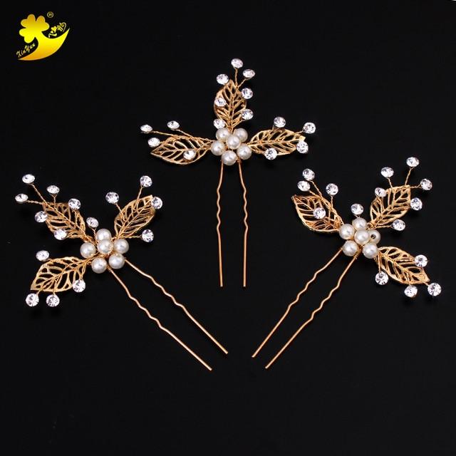 Xinyun Delicate Handmade Bridal Hair Pins Women Hair Hairpin Exclusive Wedding  Hair Accessories Golden Indian Jewelry Headpiece b16494835813
