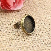 Fits 12mm  Earring Hooks Round Antique Bronze Cameo/Glass/Cabochon Frame bezel Setting 50pcs/lot (K00557)