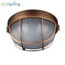 Vintage outdoor ceiling lamp,Bronze Metal Glass protective yard garden ceiling light,waterproof retro flush mount light outdoor ceiling light outdoor ceiling walking light ventilation garden villa continental locker room kitchen aluminum alloy z