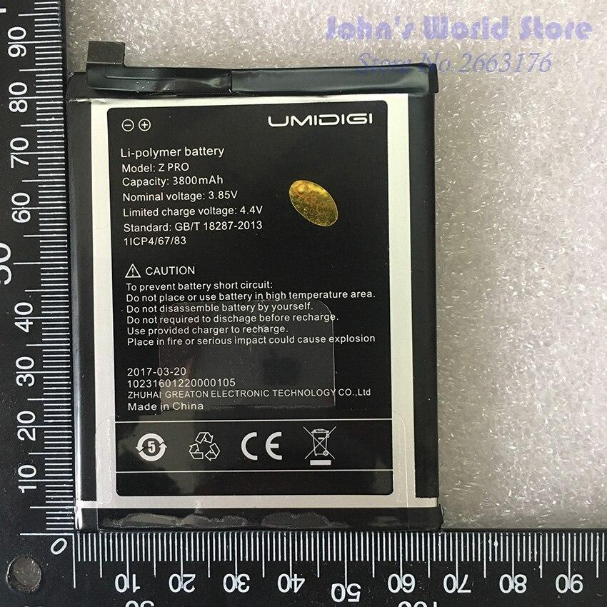 Umi Z Pro Battery UMIDIGI Z Pro High Quality Original Large Capacity 3800mAh Back Up For UMI Z Pro Z1 Smart  Phone