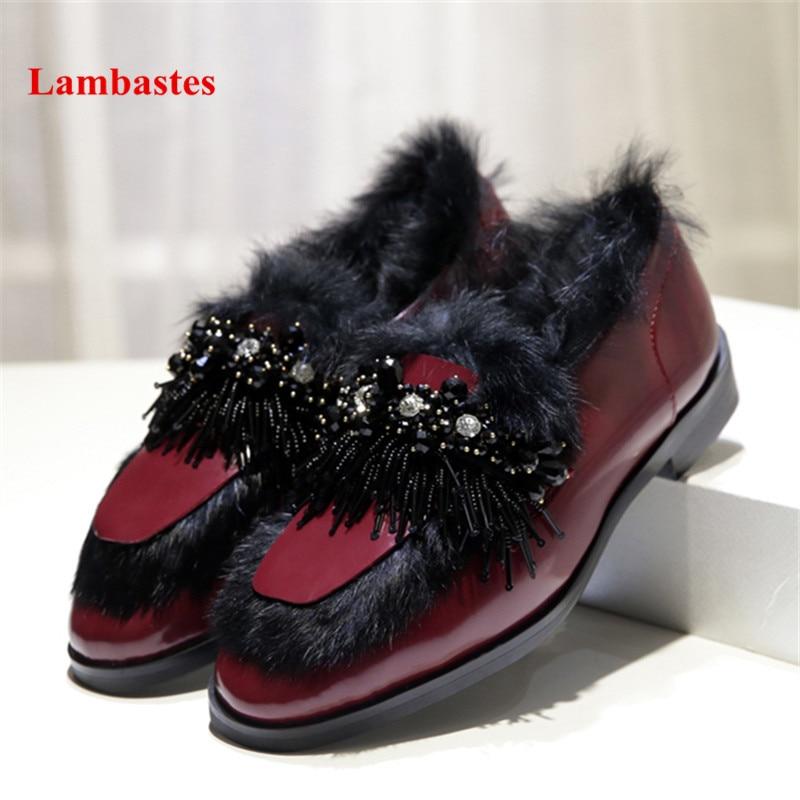 цена на Retro Flats Shoes Women Black String Bead Crystal Designer Rabbit Fur Women Flats Shallow Slip On Platform Casual Leather Shoes