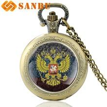Classic Russian national emblem Art Glass Cabochon Pocket Watch Vintage Men Women Bronze Quartz Necklace watches все цены